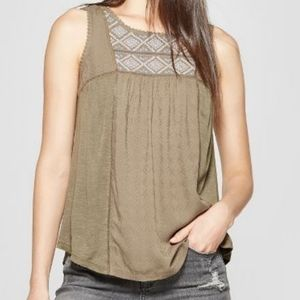 Knox Rose Olive Embroidered Tank XXL
